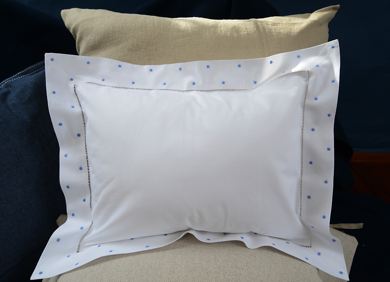 baby pillow Blue colored polka dots