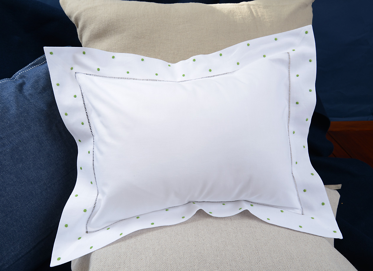 baby pillow with Bright Green colored polka dots