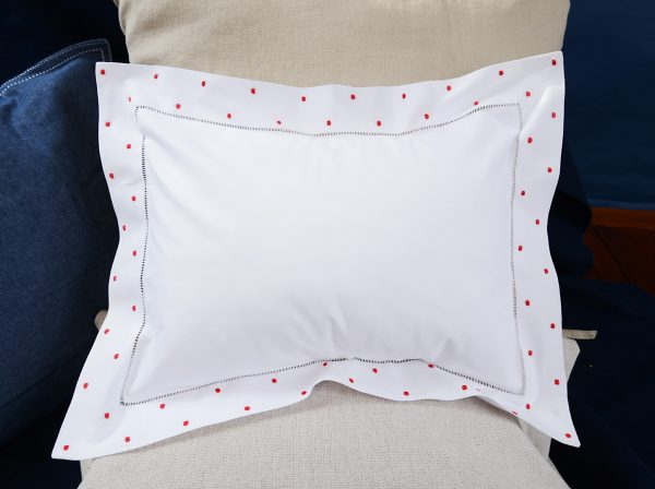 baby pillow red colored polka dots