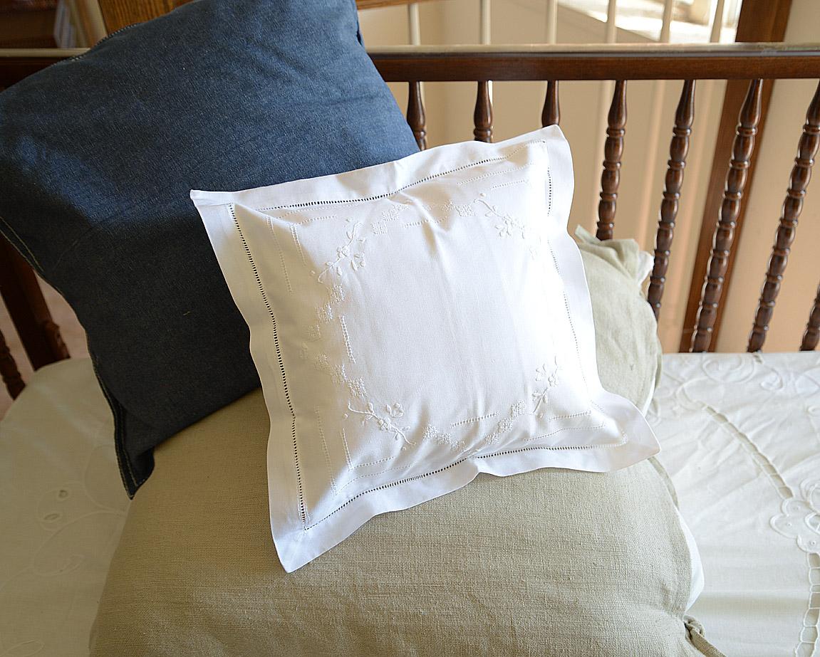 Elegant Hemstitches Baby Pillows Garden of Roses
