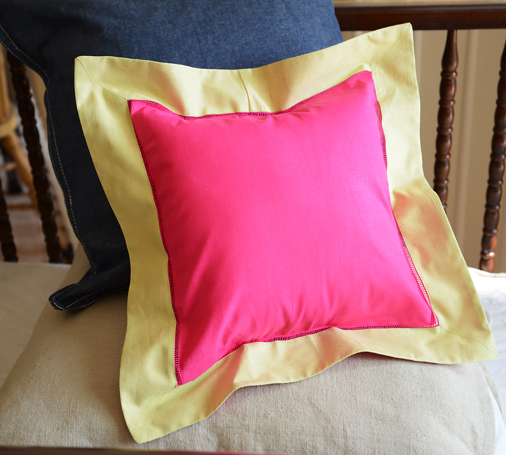 Baby Square Pillow Multi Colored Pink Peacock & Lemon Grass
