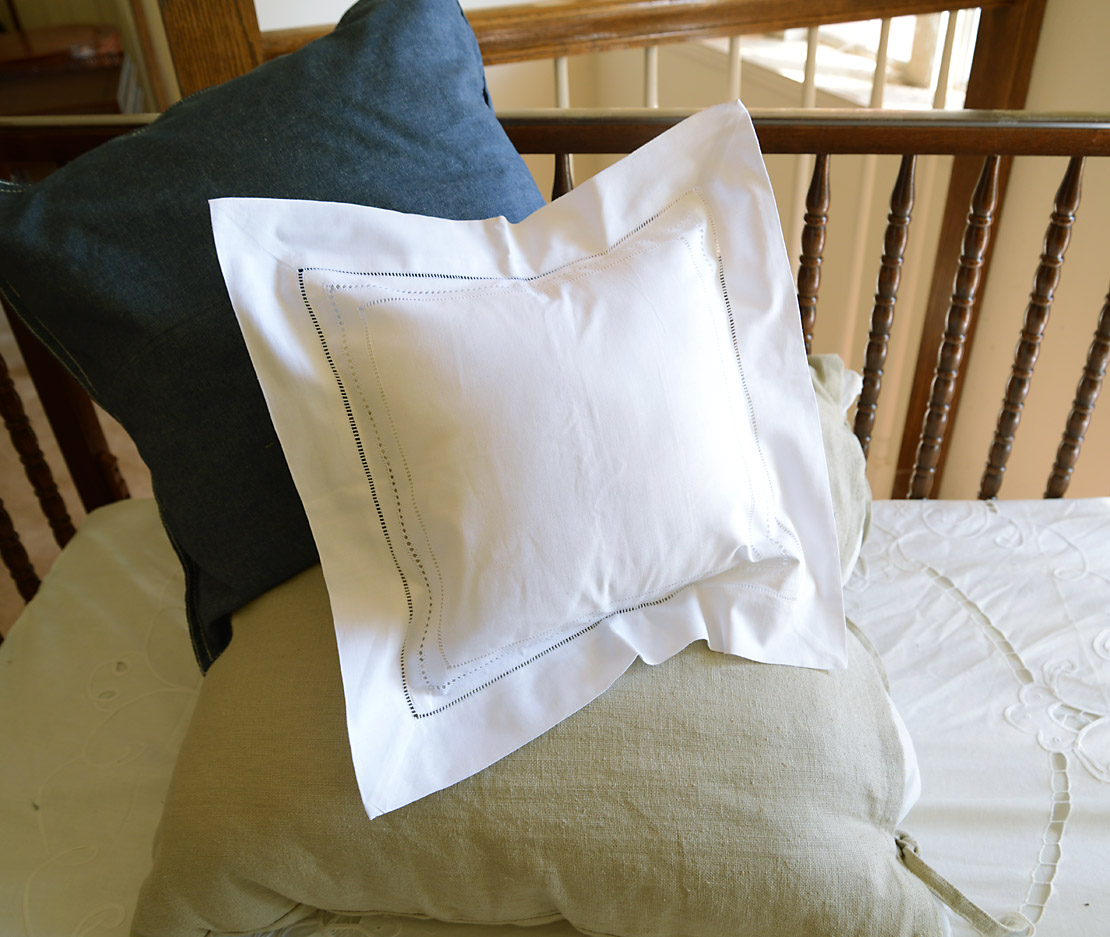 """12"""" Square Pillow Sham. Triple Lines of Hemstitches"""