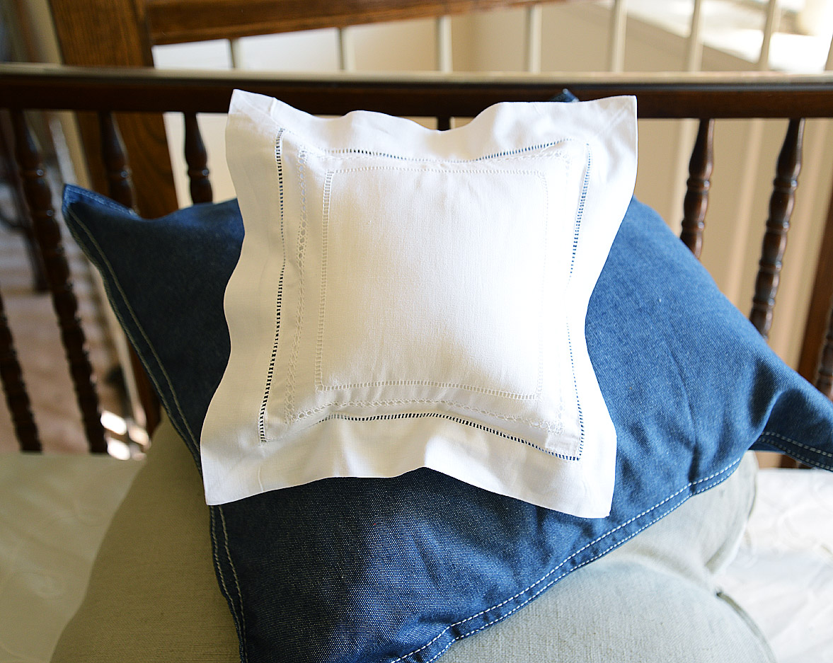"""Small Square Pillow Sham. 8""""x8"""". Triple Lines of Hemstitches"""