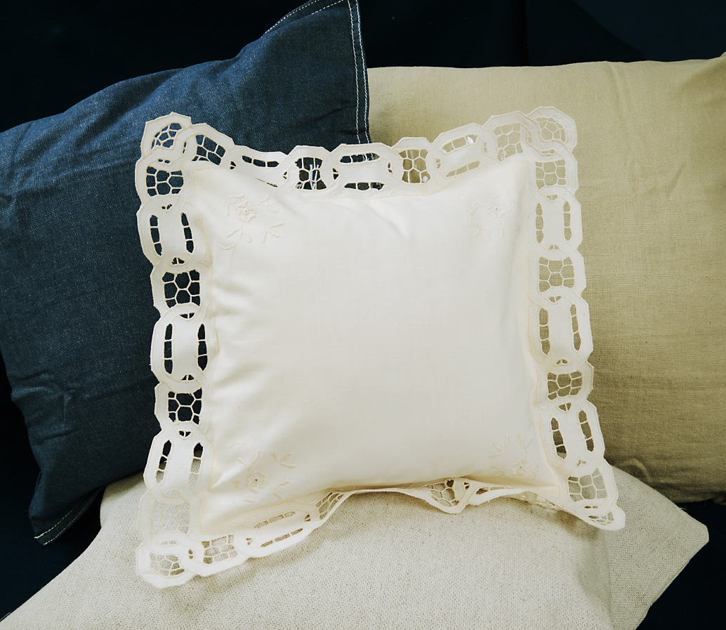 Baby Square Pillow. Cutworks. Pearled ivory color