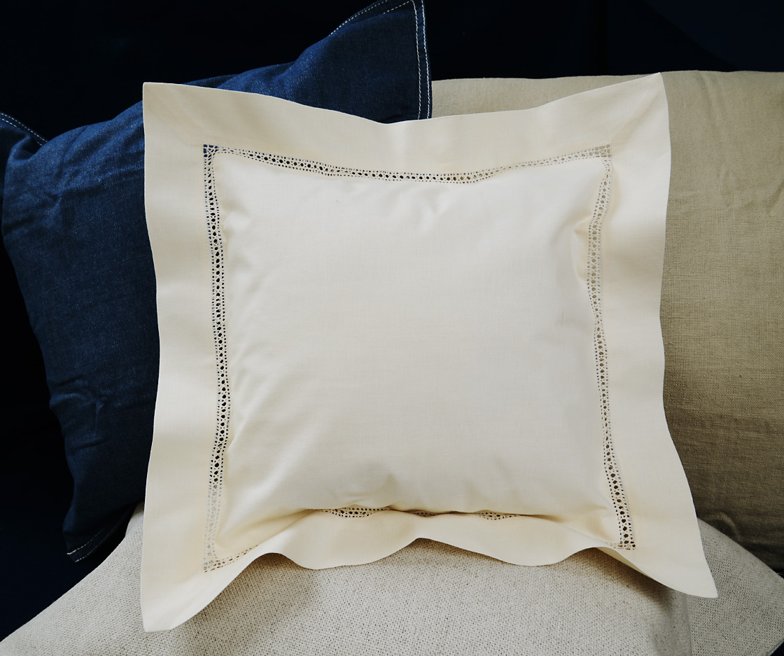 Baby Square Pillow. hemstitched. Pearled Ivory colored