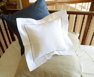 Square Baby Pillow Sham. Twisted Hemstitched