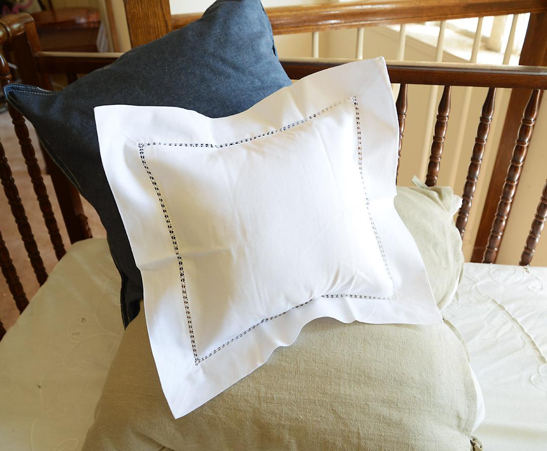 Square Baby Pillow Sham. Edinburgh Hemstitch