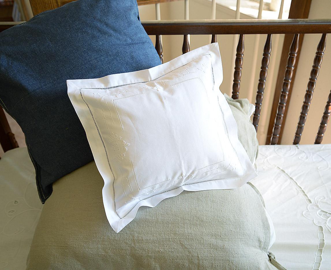 """Baby Pillow Sham 12""""x12"""" Fancy Hemstitches"""