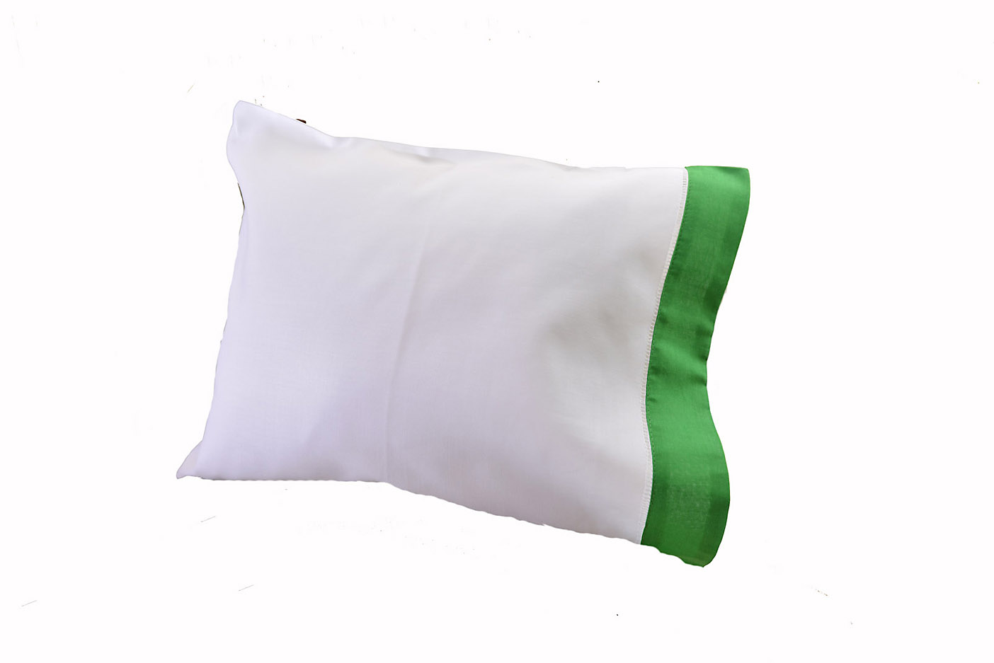 baby pillowcase kelly green colored trimmed