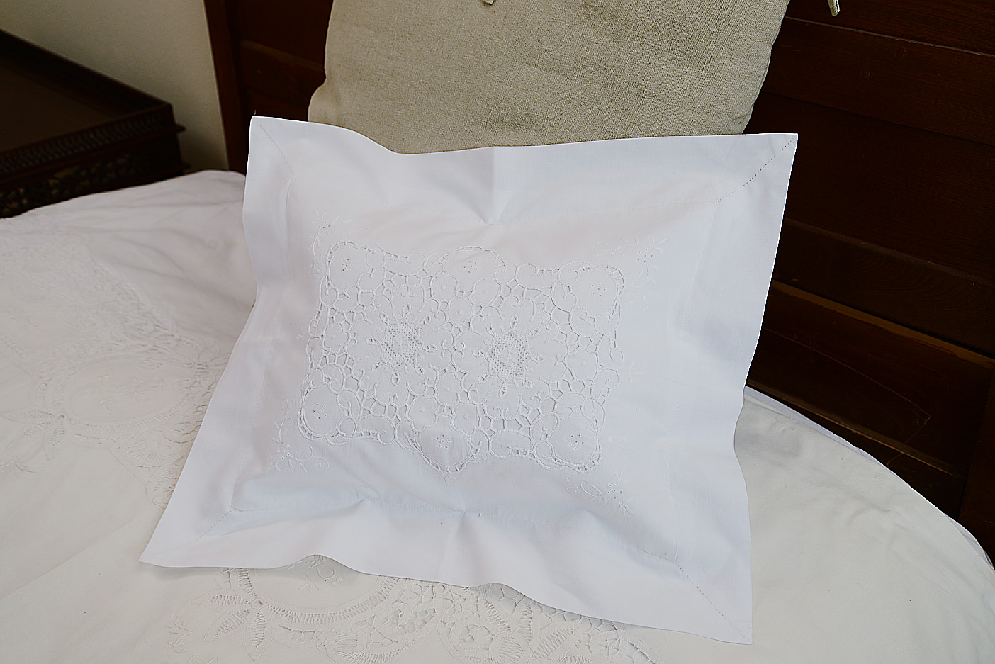 victorian embroidered baby pillow 12x16